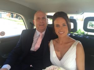 Victoria & her Dad on the way to her Surprise Wedding